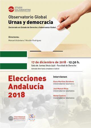 """Seminario Urnas y Democracia """"Elecciones Andalucía 2018"""". 17 diciembre (Salamanca)"""