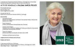 Homenaje a Paloma García Picazo. 13 de marzo a las 17:00 h.