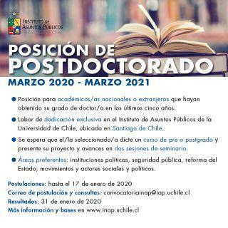 Convocatoria a posición de postdoctorado - Universidad de Chile
