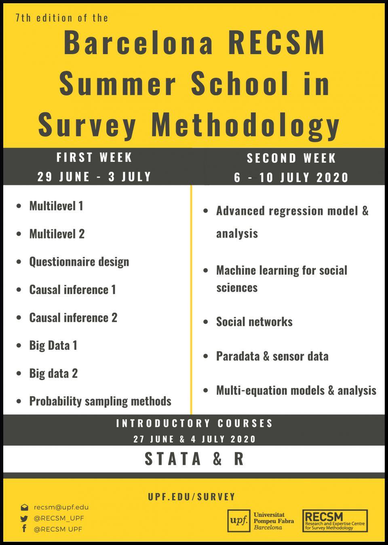 Registration is open: Barcelona RECSM Summer School in Survey Methodology 2020