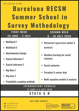 Registration deadline || RECSM Online Summer School in Survey Methodology 2020