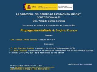 "Presentación (en línea) del libro: ""Propaganda totalitaria"", de Siegfried Kracauer"