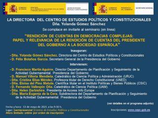 """Seminario CEPC: """"Rendición de cuentas en democracias complejas: papel y relevancia de la rendición de cuentas del Presidente del Gobierno a la sociedad española"""" 13 mayo"""