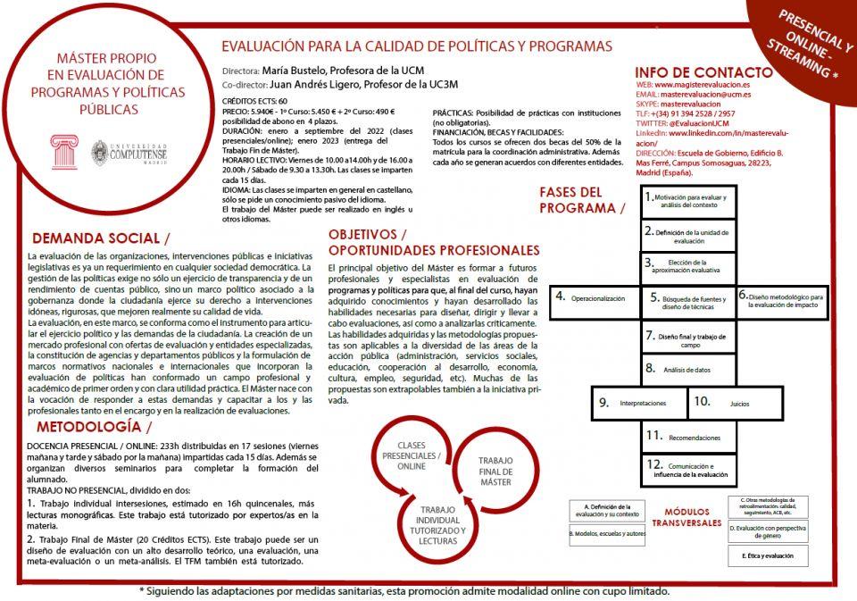 Abierta preinscripción - Edición XX 2021 - presencial/online - Máster en Evaluación de Programas y Políticas públicas UCM
